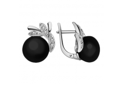 Серебряные cерьги классические с жемчугом