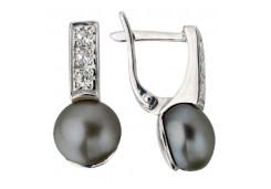 Серьги из серебра 925 пробы с жемчугом