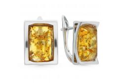 Серебряные cерьги с янтарем