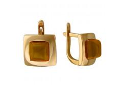 Серебряные cерьги с позолотой с янтарем