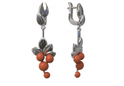 Серебряные cерьги висячие с кораллом