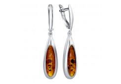 Серебряные cерьги висячие с янтарем