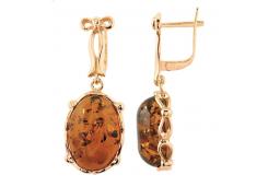 Серебряные cерьги висячие с позолотой с янтарем