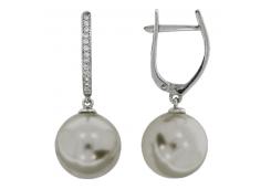 Серебряные cерьги висячие с жемчугом