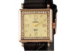 Часы из красного золота 585 пробы с фианитом