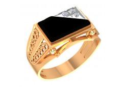 Печатка из красного золота 585 пробы с бриллиантом