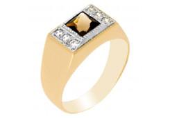 Золотые кольца с раух-топазом 110196