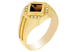 Золотые кольца с раух-топазом 110244