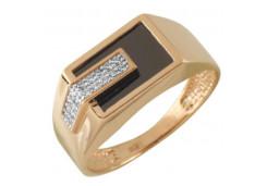 Кольца из золота, вставка оникс 131740