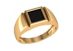 Кольца из золота, вставка оникс 132020