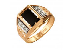 Кольца из золота, вставка оникс 91494