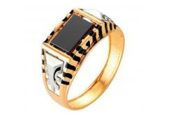 Кольца из золота, вставка оникс 91582