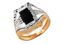 Кольца из золота, вставка оникс 129764