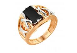 Кольца из золота, вставка оникс 91518