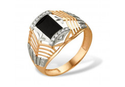 Кольца из золота, вставка оникс 91522
