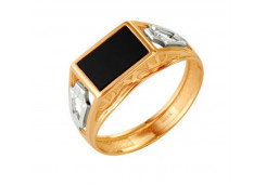 Кольца из золота, вставка оникс 91526
