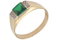 Печатка из красного золота 585 пробы с агатом зеленым