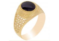 Мужские кольца из золота с цветными фианитами 94502