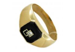 Мужские кольца из золота с цветными фианитами 117719