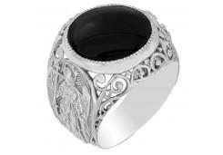 Серебряные печатки с черными фианитами 110246