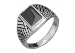Серебряные печатки с черными фианитами 126963