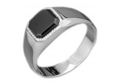 Серебряные печатки с черными фианитами 126988