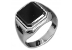 Серебряные печатки с черными фианитами 126962