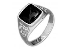 Серебряные печатки с черными фианитами 126989