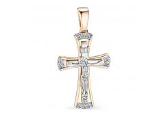 Крест из красного золота 585 пробы с бриллиантом
