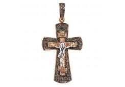 Крест из красного золота 585 пробы с чернением