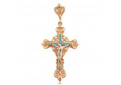 Крест из красного золота 585 пробы с эмалью
