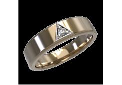 Кольцо обручальное из красного золота 585 пробы с бриллиантом
