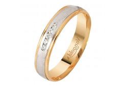 Кольцо обручальное из золота 585 пробы с бриллиантом