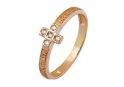 Золотые кольца с белыми фианитами 132821