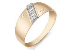 Кольцо обручальное из красного золота 585 пробы с фианитом
