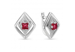 Серебряные cерьги классические с рубином