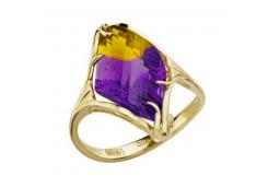 Кольцо из желтого золота с аметрином