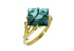 Кольцо из желтого золота с аквамарином