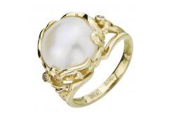 Кольцо из желтого золота с жемчугом