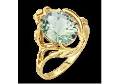 Кольцо из желтого золота с празиолитом
