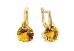 Серьги из желтого золота с цитрином