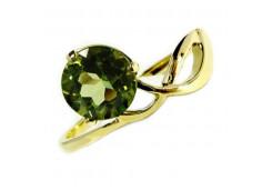 Кольцо из желтого золота с хризолитом
