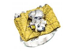 Серебряное кольцо с позолотой с кристаллом Сваровски