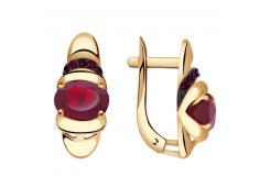 Золотые cерьги с рубином