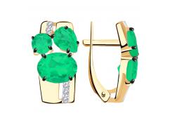 Золотые cерьги классические с агатом зеленым
