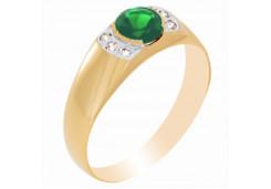 Печатка из золота с агатом зеленым