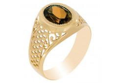 Печатка из золота с раух-топазом