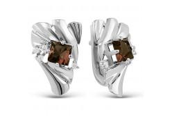 Серебряные cерьги классические с кварцем