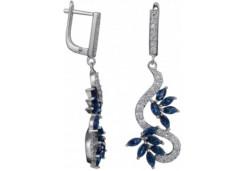 Серебряные cерьги висячие с фианитом