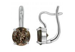 Серебряные cерьги с кварцем